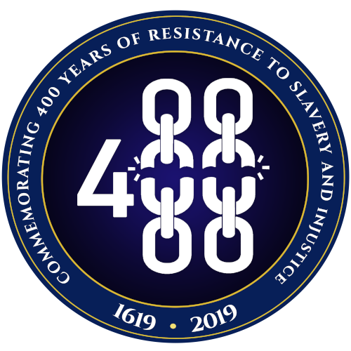 "Logo created for this initiative in navy blue, with some text that reads ""commemorating 400 years of resistance to slavery and injustice"""