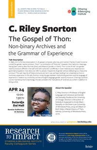 C. Riley Snorton event flier